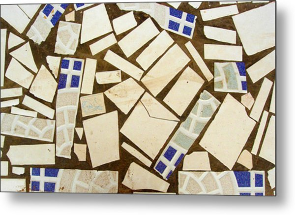 Tile Pieces In Brown Grout Metal Print
