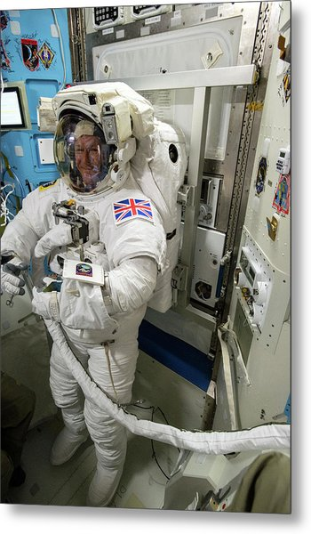 Tim Peake Preparing For Spacewalk Metal Print