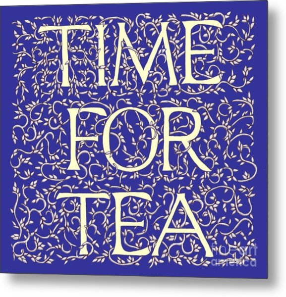 Time For Tea Royal Blue Metal Print