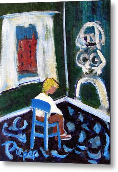 Time Out For De Kooning In A Chair In A Corner Metal Print