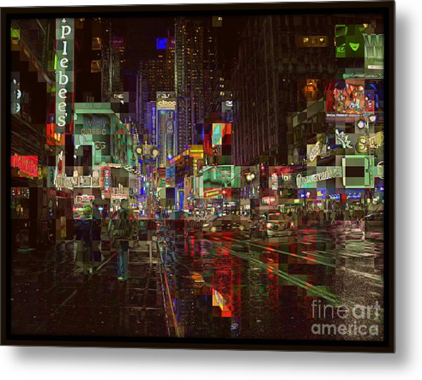 Times Square At Night - After The Rain Metal Print