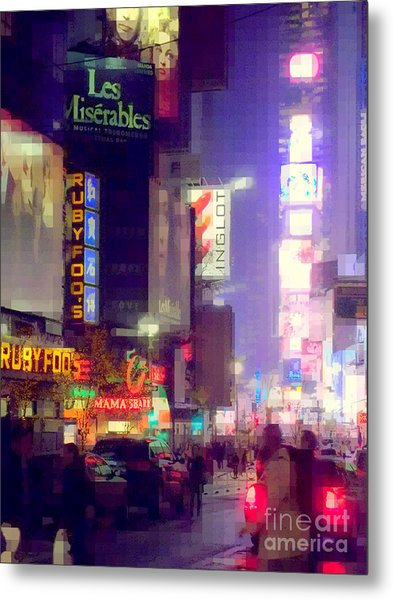 Times Square At Night - Columns Of Light Metal Print
