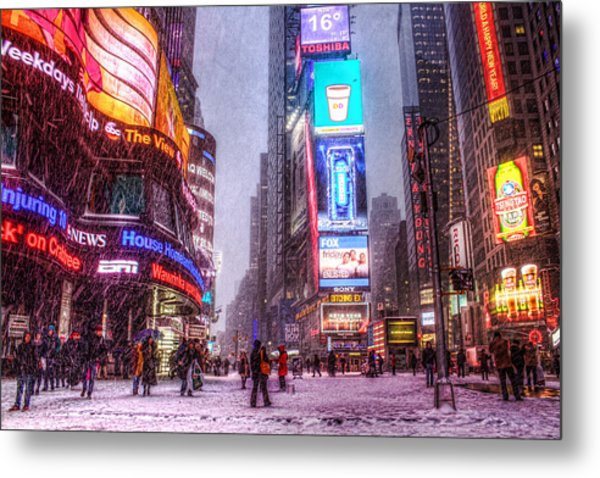Times Square In The Snow Metal Print by Zev Steinhardt