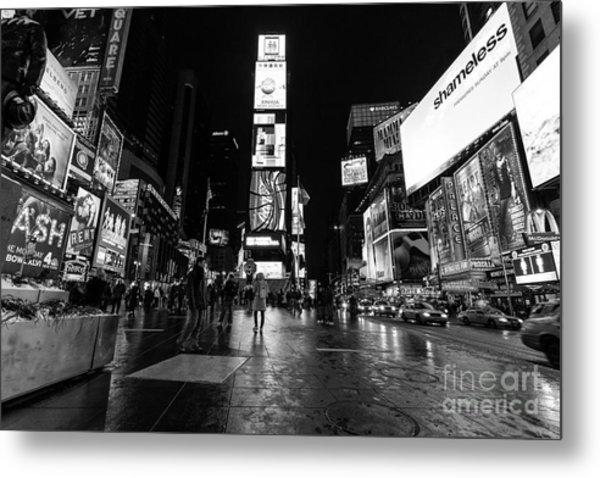 Times Square Mono Metal Print