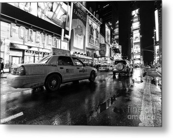 Times Square Nyc Taxi Cab Metal Print