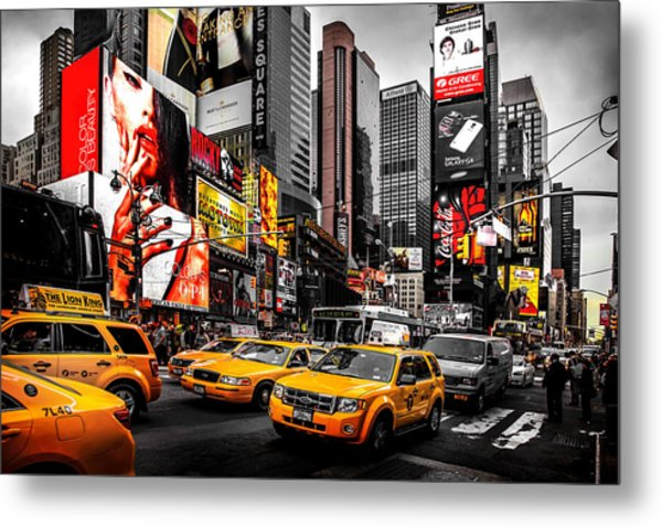 Times Square Taxis Metal Print