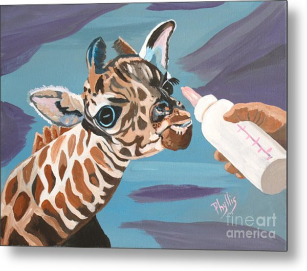Tiny Baby Giraffe With Bottle Metal Print