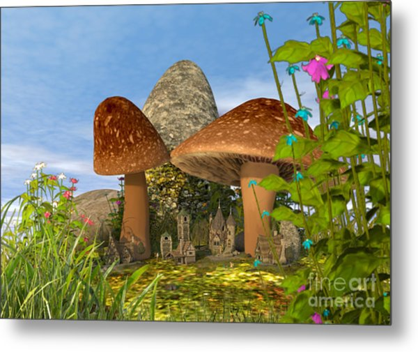 Tiny Fairy Village Metal Print