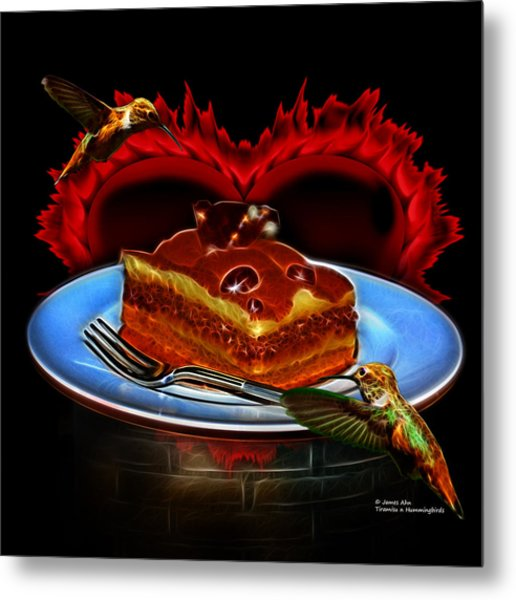 Tiramisu N Hummingbirds Metal Print