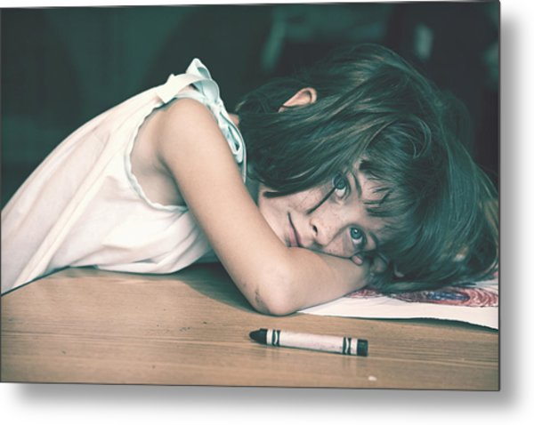Tired Girl By Jan Marvin Metal Print