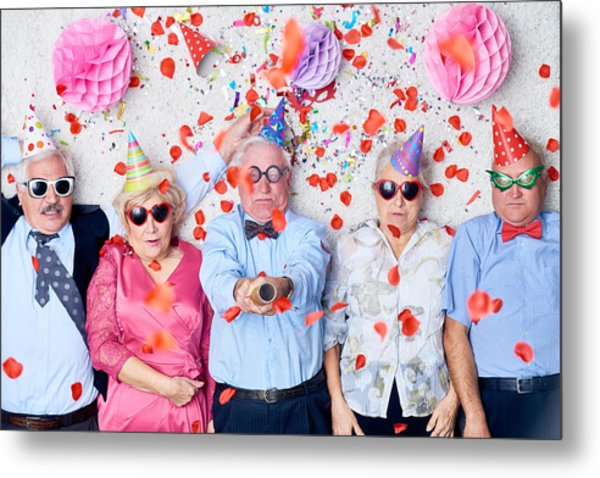 Tired Seniors After Christmas Party Metal Print by Mediaphotos