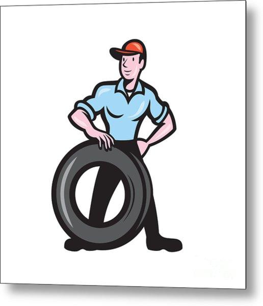 Tireman Mechanic With Tire Cartoon Isolated Metal Print by Aloysius Patrimonio