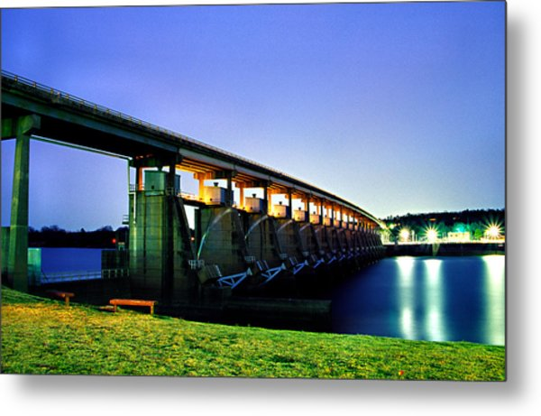 Toad Suck Dam At Night Metal Print