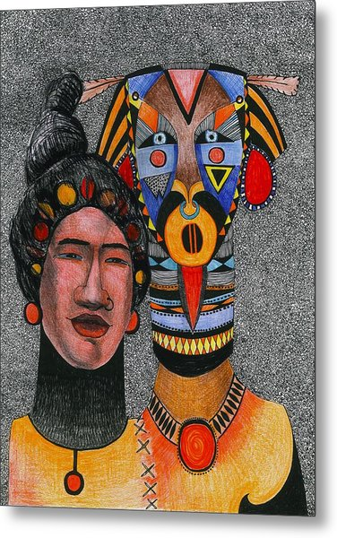 Together-forever, 2012 Pen, Ink And Colour Pencils On Paper Metal Print