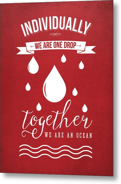 Together We Are An Ocean - Red Metal Print