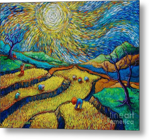 Toil Today Dream Tonight Diptych Painting Number 1 After Van Gogh Metal Print