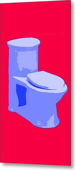 Toilette In Blue Metal Print