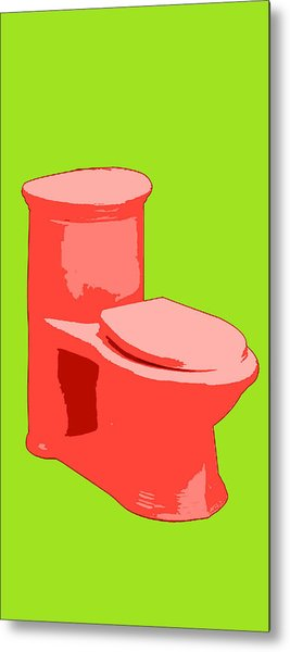 Toilette In Red Metal Print