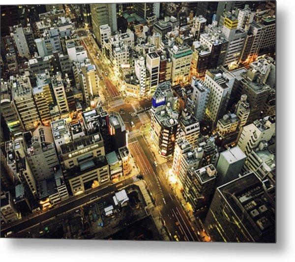 Tokyo Aerial View Street Metal Print by Franckreporter