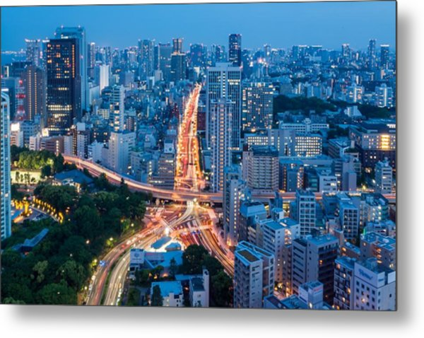 Tokyo City View From Tokyo Tower At Metal Print by Photography By Zhangxun