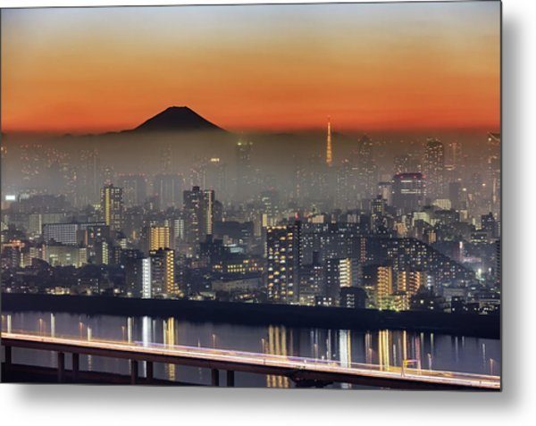 Tokyo Mt Fuji Fog Metal Print by Krzysztof Baranowski