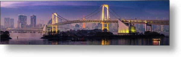 Tokyo Rainbow Bridge Soaring Over Metal Print by Fotovoyager