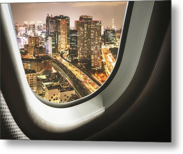 Tokyo Skyline From The Airplane Metal Print by Franckreporter