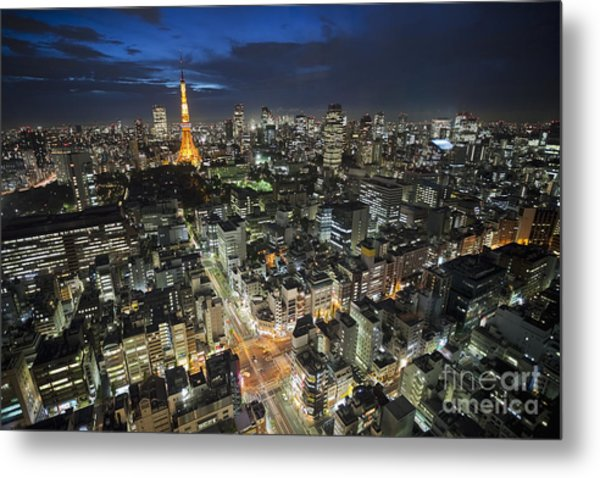 Tokyo Tower At Night Metal Print