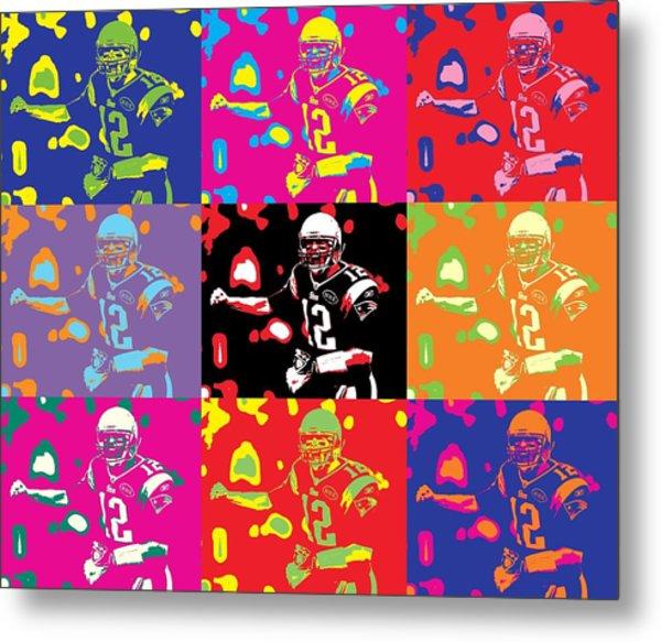 Tom Brady Pop Art Metal Print