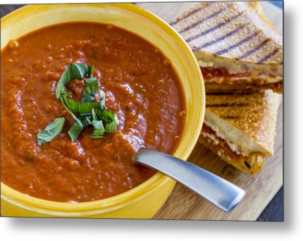Tomato And Basil Soup With Grilled Cheese Panini Metal Print