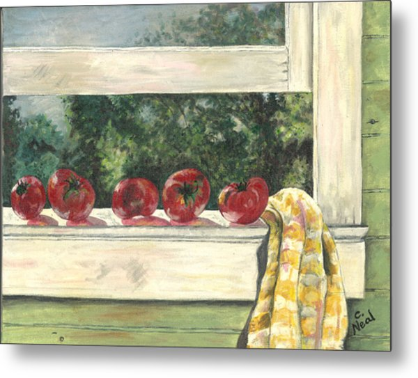 Tomatoes On The Sill Metal Print