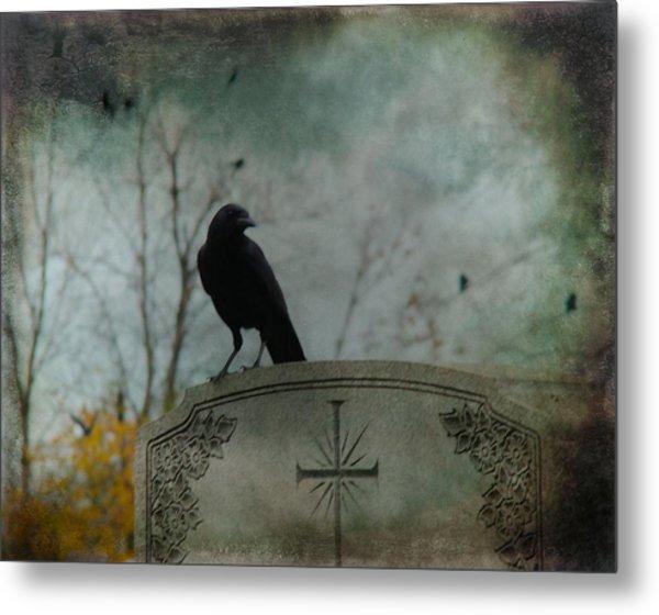 Tombstone Crow Metal Print