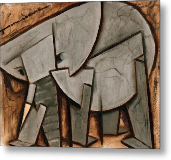 Abstract Cubism Elephant Art Print Metal Print