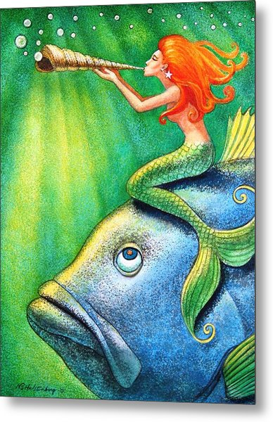 Toot Your Own Seashell Mermaid Metal Print