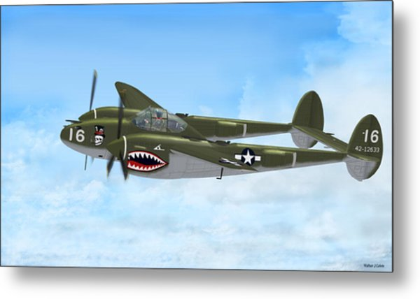 Top Hatted Skull P-38 Lightning Metal Print by Walter Colvin