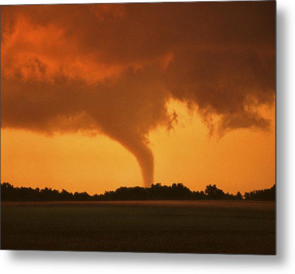 Tornado Sunset 11 X 14 Crop Metal Print