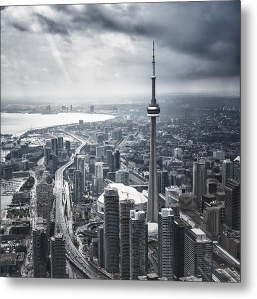 Toronto Aerial View During A Storm Metal Print by Franckreporter