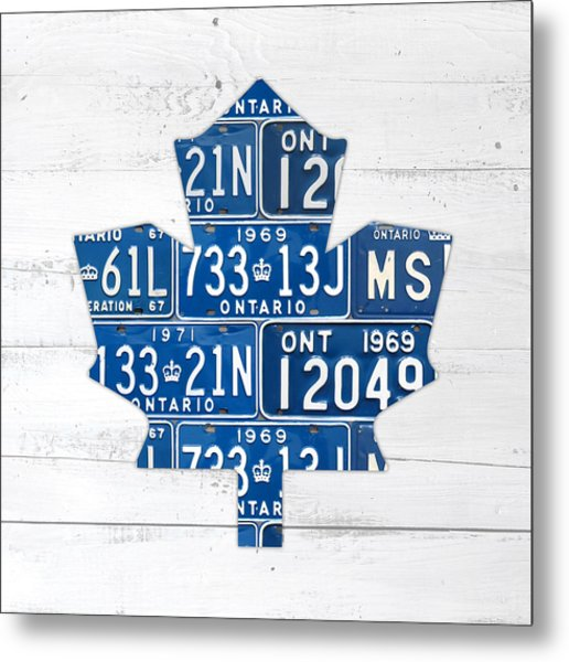 Toronto Maple Leafs Hockey Team Retro Logo Vintage Recycled Ontario Canada License Plate Art Metal Print