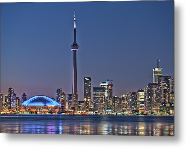 Toronto Night Skyline Cn Tower Downtown Skyscrapers Sunset Canada Metal Print