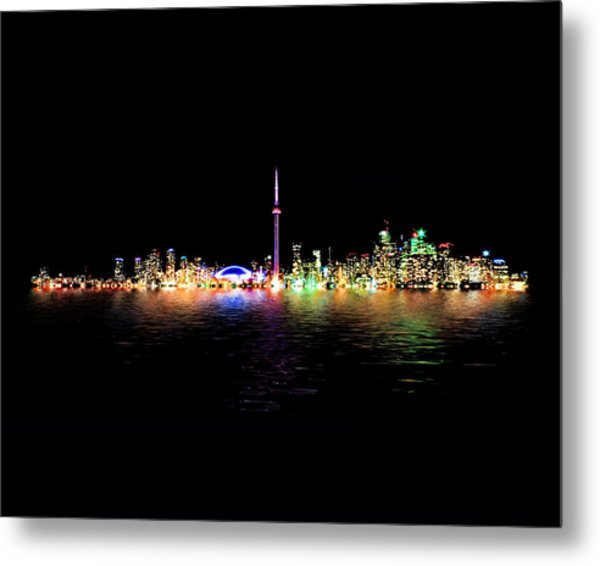 Toronto Skyline At Night From Centre Island Reflection Metal Print