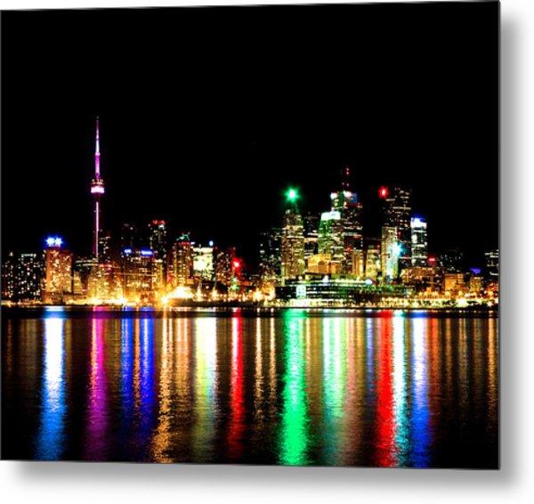 Toronto Skyline Night Metal Print
