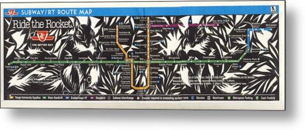 Toronto Subway Map Squirrels Metal Print