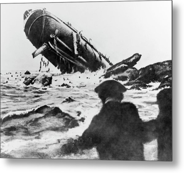 Torpedoed Ship In World War I Metal Print