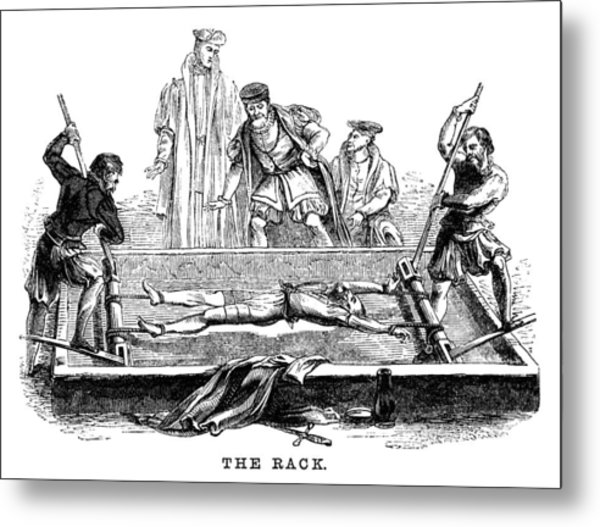 Torture On The Rack (victorian Woodcut) Metal Print by Whitemay
