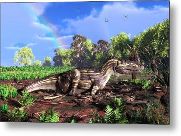 Torvosaurus And Rainbow Metal Print by Walter Myers
