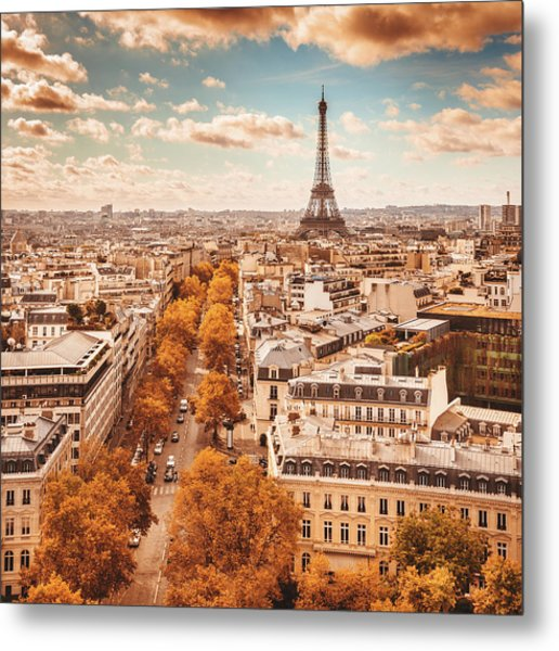Tour Eiffel Tower Aerial View Metal Print by Franckreporter