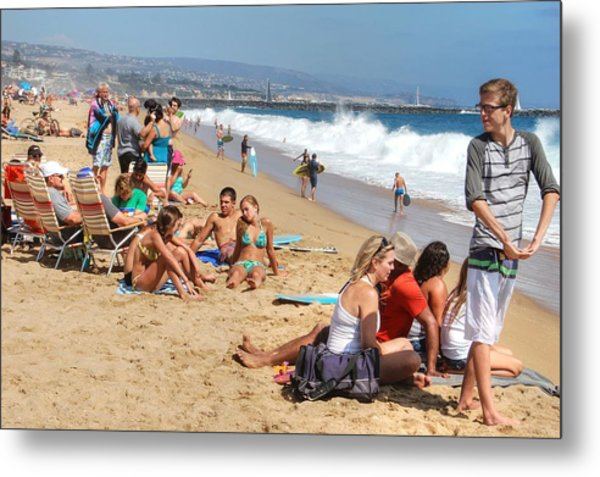 Tourist At Beach Metal Print