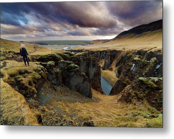 Tourist At Fjadrargljufur Canyon Metal Print by Anna Gorin