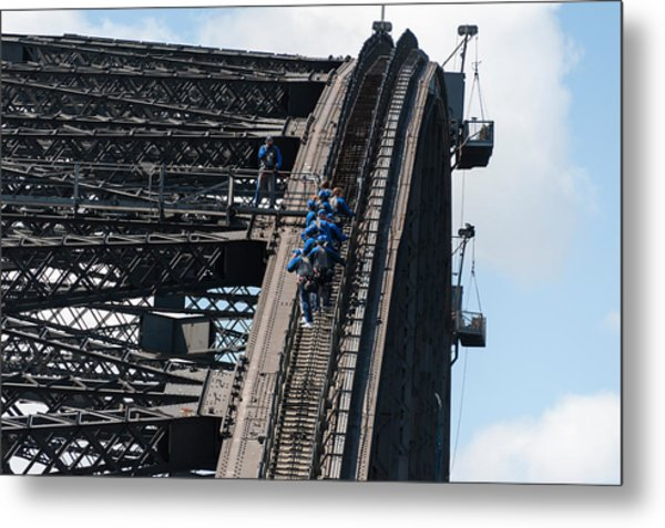 Tourists Strapped Together For Climb Metal Print