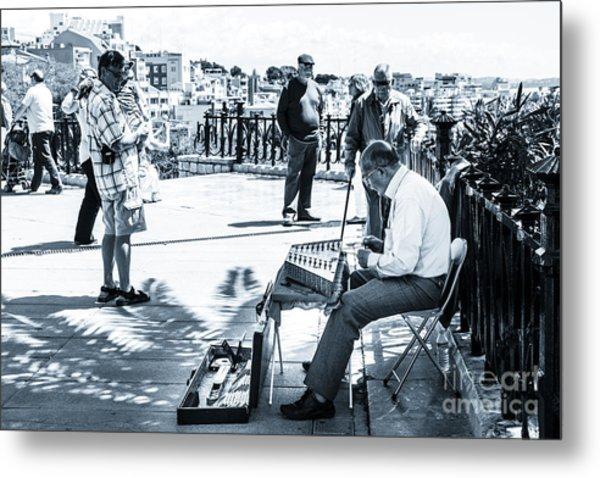 tourists watching busker playing santoor dulcimer at Tarragona S Metal Print